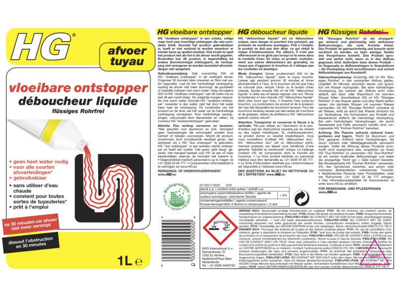 HG déboucheur liquide 1l