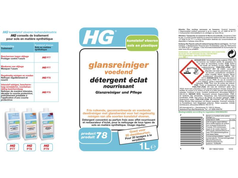HG détergent éclat nourrissant pour sols synthétiques 1l
