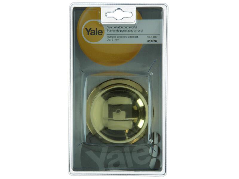 Yale deurbol op rozet rond 71mm messing gepolijst