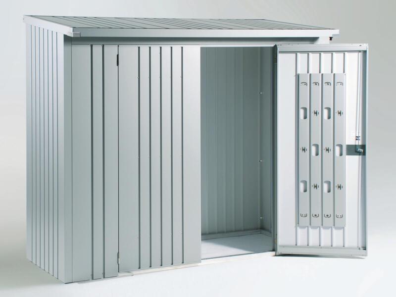 Biohort deurenpakket voor houtopslag Woodstock 230 zilver metallic