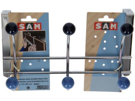 Sam deurkapstok 3 dubbele haken inox/porselein