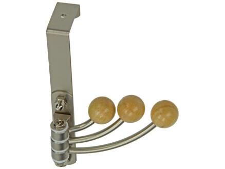 Sam deurkapstok 3 haken inox/hout