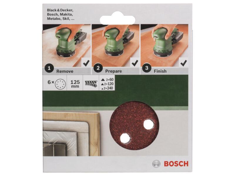Bosch disque abrasif G60/G120/G240 125mm 6 pièces