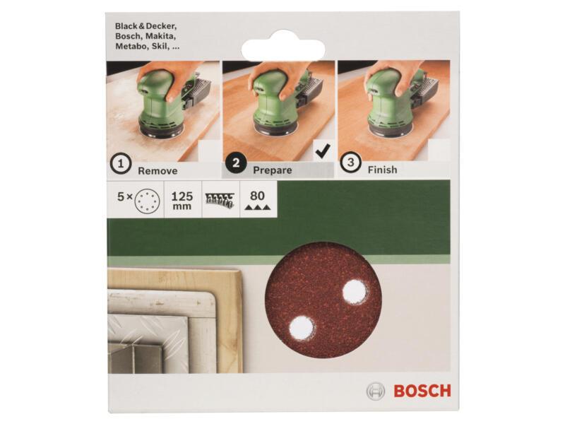 Bosch disque abrasif G80 125mm 5 pièces