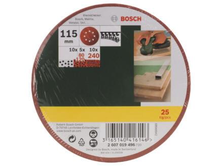 Bosch disque abrasif G80/G120/G240 115mm 25 pièces