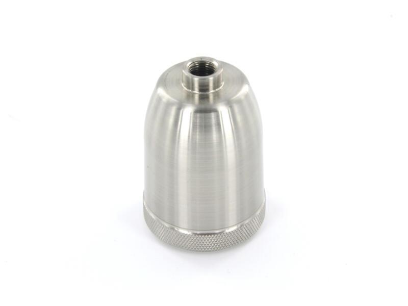 Chacon douille E27 arrondi métal gris argent