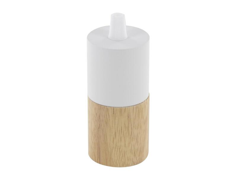 Chacon douille E27 bois/métal blanc