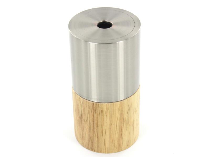 Chacon douille E27 bois/métal gris argent