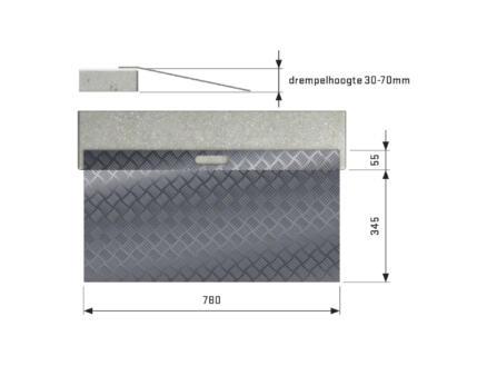 Secucare drempelhulp type 2 hoogte verstelbaar 40-70 mm 78x40 cm aluminium