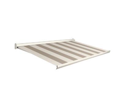 Domasol elektrische zonneluifel F10 500x250 cm beige-crème strepen met crèmewit frame