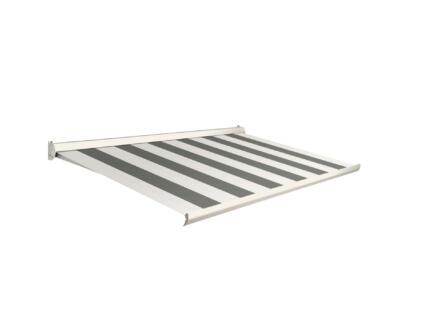 Domasol elektrische zonneluifel F10 500x250 cm groen-crème strepen met crèmewit frame