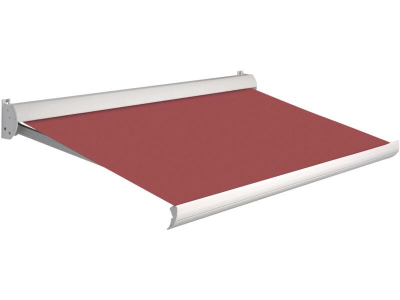 Domasol elektrische zonneluifel F10 500x250 cm rood met crèmewit frame