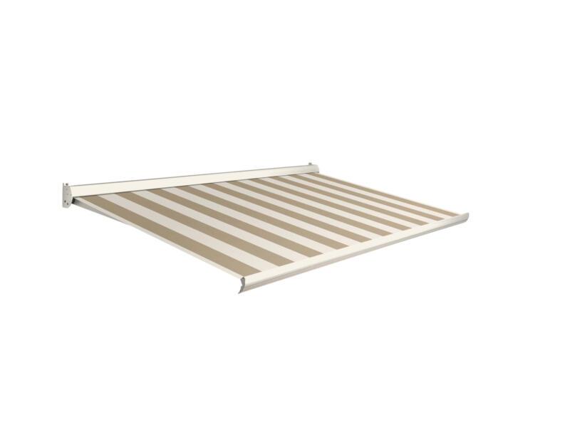 Domasol elektrische zonneluifel F10 500x300 cm bruin-wit smalle strepen met crèmewit frame