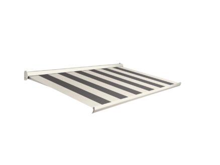 Domasol elektrische zonneluifel F10 500x300 cm grijs-crème strepen met crèmewit frame
