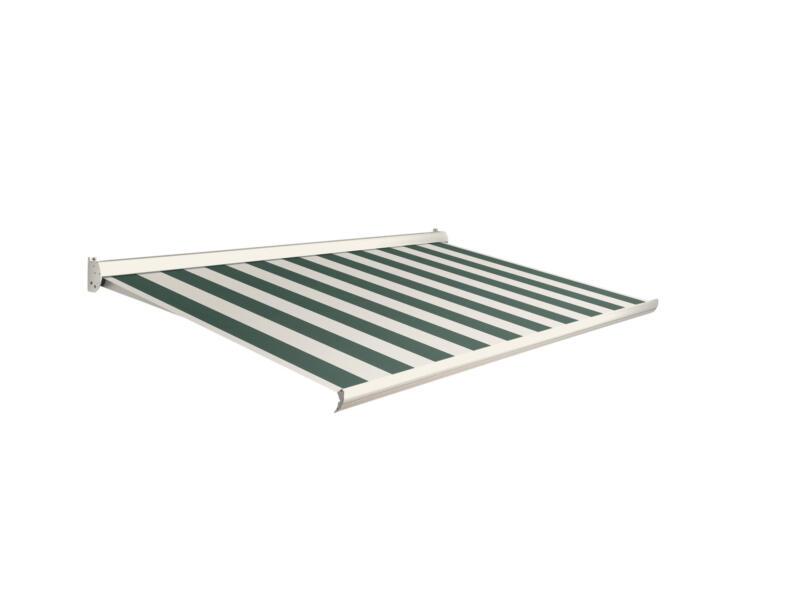 Domasol elektrische zonneluifel F10 500x300 cm groen-wit smalle strepen met crèmewit frame