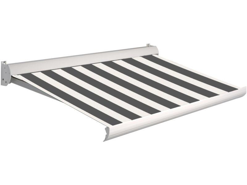 Domasol elektrische zonneluifel F10 550x250 cm bruin-wit smalle strepen met crèmewit frame
