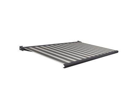 Domasol elektrische zonneluifel F20 300x250 cm + afstandsbediening zwart-wit strepen met antracietgrijs frame