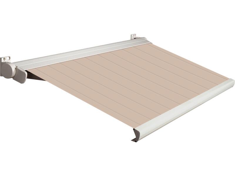 Domasol elektrische zonneluifel F20 350x300 cm bruin-wit strepen met crèmewit frame