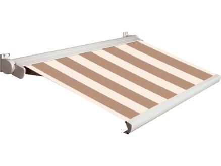 Domasol elektrische zonneluifel F20 400x300 cm bruin-wit smalle strepen met crèmewit frame