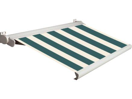 Domasol elektrische zonneluifel F20 450x250 cm groen-wit smalle strepen met crèmewit frame