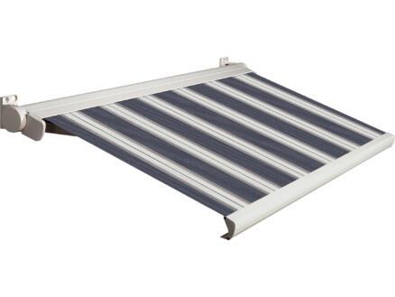 Domasol elektrische zonneluifel F20 450x300 cm + afstandsbediening blauw-wit strepen met crèmewit frame