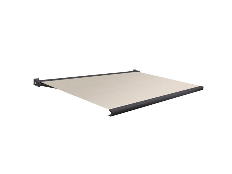 Domasol elektrische zonneluifel F20 450x300 cm bruin-wit strepen met antracietgrijs frame