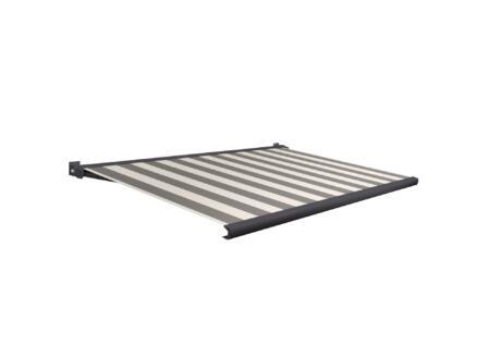 Domasol elektrische zonneluifel F20 450x300 cm zwart-wit smalle strepen met antracietgrijs frame