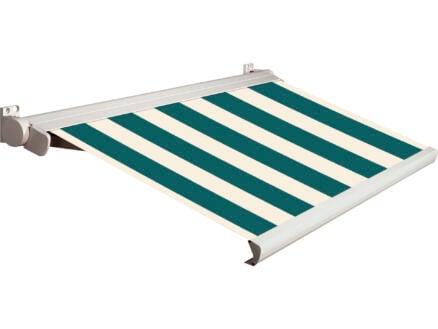 Domasol elektrische zonneluifel F20 500x250 cm + afstandsbediening groen-wit smalle strepen met crèmewit frame