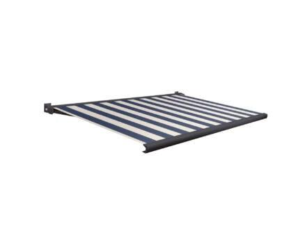 Domasol elektrische zonneluifel F20 500x250 cm blauw-wit smalle strepen met antracietgrijs frame