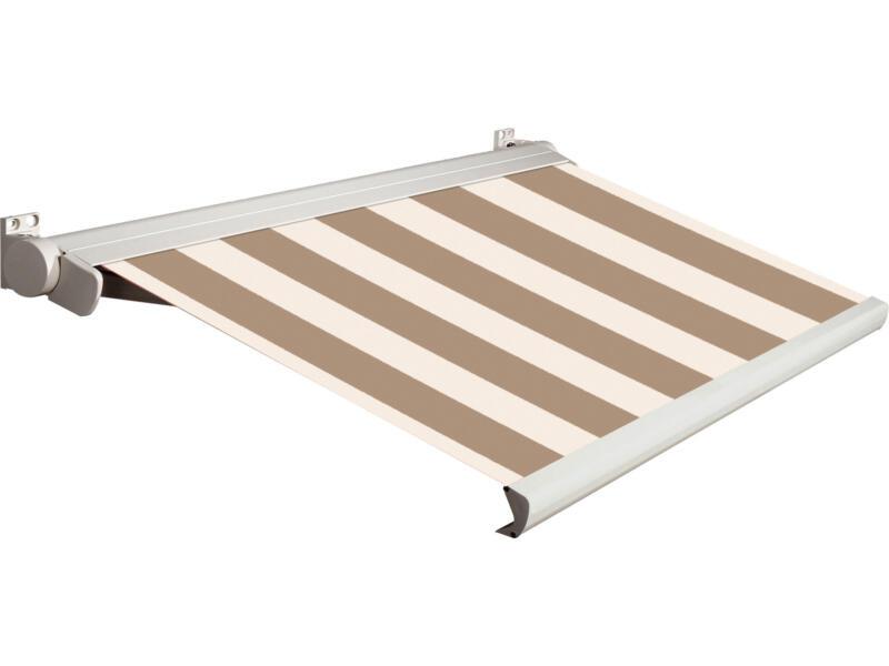 Domasol elektrische zonneluifel F20 500x250 cm bruin-wit smalle strepen met crèmewit frame