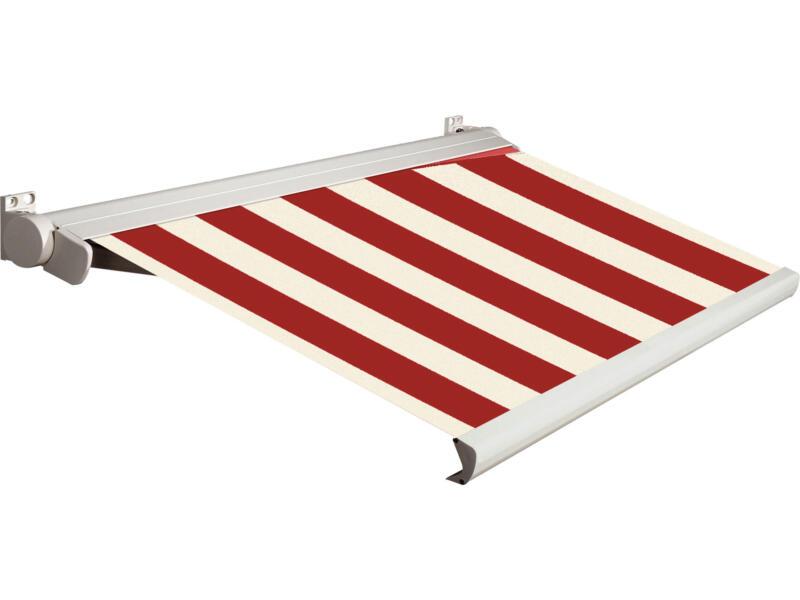 Domasol elektrische zonneluifel F20 500x300 cm + afstandsbediening rood-wit smalle strepen met crèmewit frame