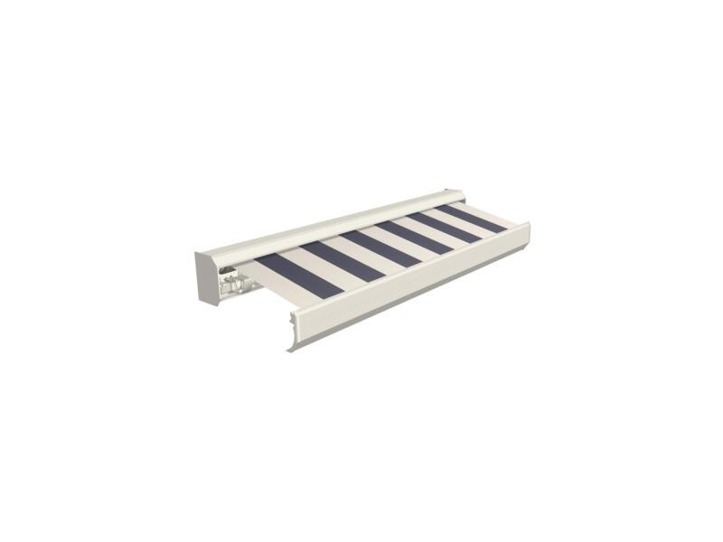 Domasol elektrische zonneluifel F30 400x300 cm + afstandsbediening blauw-crème strepen met crèmewit frame