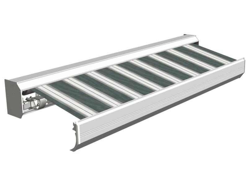 Domasol elektrische zonneluifel F30 400x300 cm groen-wit strepen met crèmewit frame