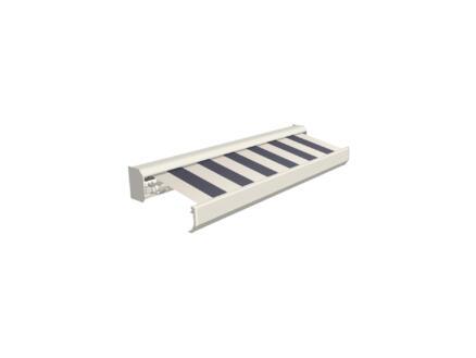 Domasol elektrische zonneluifel F30 450x300 cm + afstandsbediening blauw-crème strepen met crèmewit frame