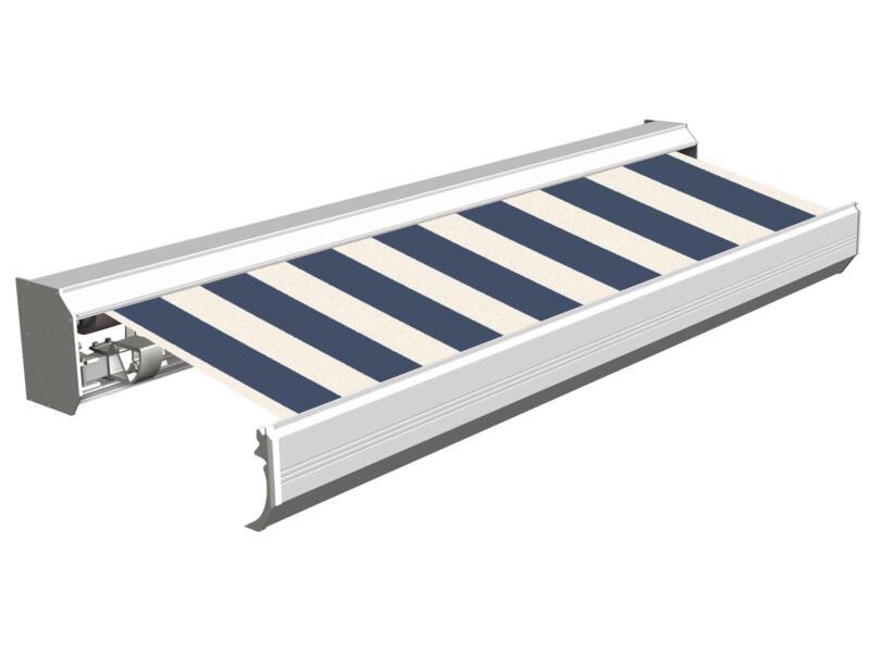 Domasol elektrische zonneluifel F30 450x300 cm + afstandsbediening blauw-wit smalle strepen met crèmewit frame