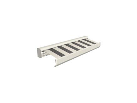 Domasol elektrische zonneluifel F30 450x300 cm + afstandsbediening grijs-crème strepen met crèmewit frame