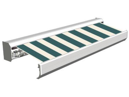 Domasol elektrische zonneluifel F30 450x300 cm + afstandsbediening groen-wit smalle strepen met crèmewit frame