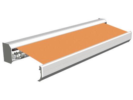 Domasol elektrische zonneluifel F30 450x300 cm + afstandsbediening oranje met crèmewit frame