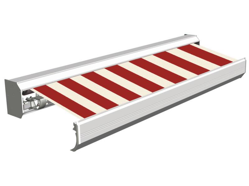 Domasol elektrische zonneluifel F30 450x300 cm + afstandsbediening rood-wit smalle strepen met crèmewit frame