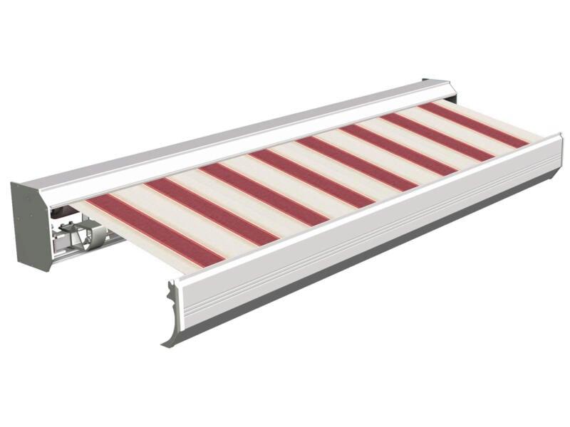 Domasol elektrische zonneluifel F30 450x300 cm rood-wit strepen met crèmewit frame