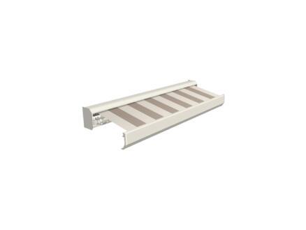 Domasol elektrische zonneluifel F30 500x300 cm + afstandsbediening beige-crème strepen met crèmewit frame