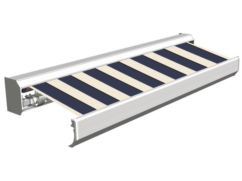 Domasol elektrische zonneluifel F30 500x300 cm blauw-wit brede strepen met crèmewit frame