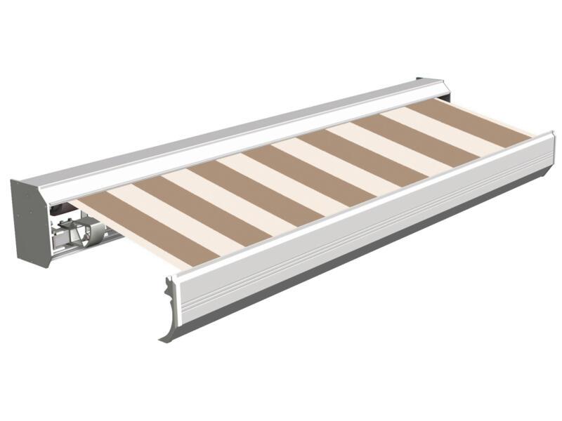 Domasol elektrische zonneluifel F30 500x300 cm bruin-wit smalle strepen met crèmewit frame
