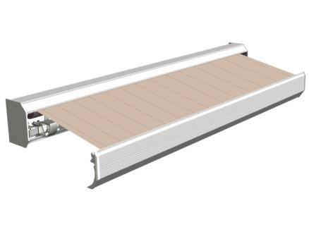 Domasol elektrische zonneluifel F30 500x300 cm bruin-wit strepen met crèmewit frame