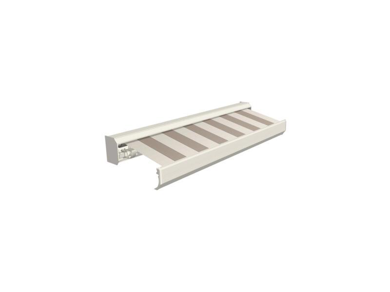Domasol elektrische zonneluifel F30 550x300 cm + afstandsbediening beige-crème strepen met crèmewit frame