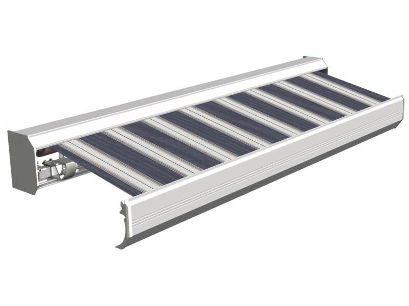 Domasol elektrische zonneluifel F30 550x300 cm blauw-wit strepen met crèmewit frame