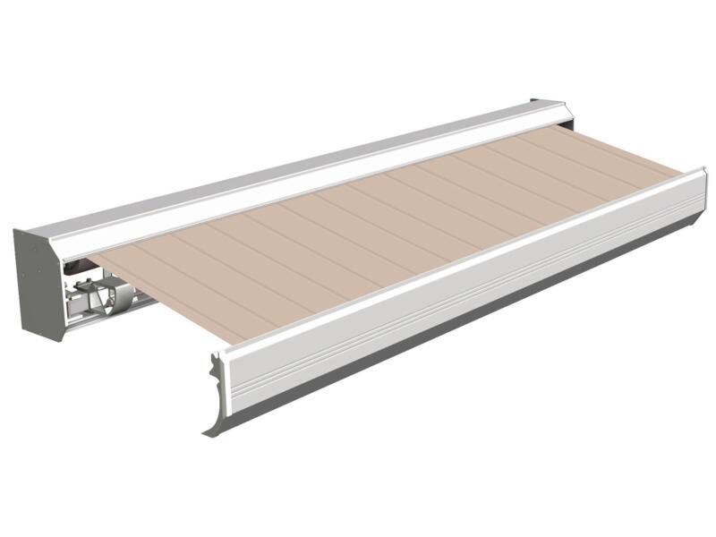 Domasol elektrische zonneluifel F30 550x300 cm bruin-wit strepen met crèmewit frame