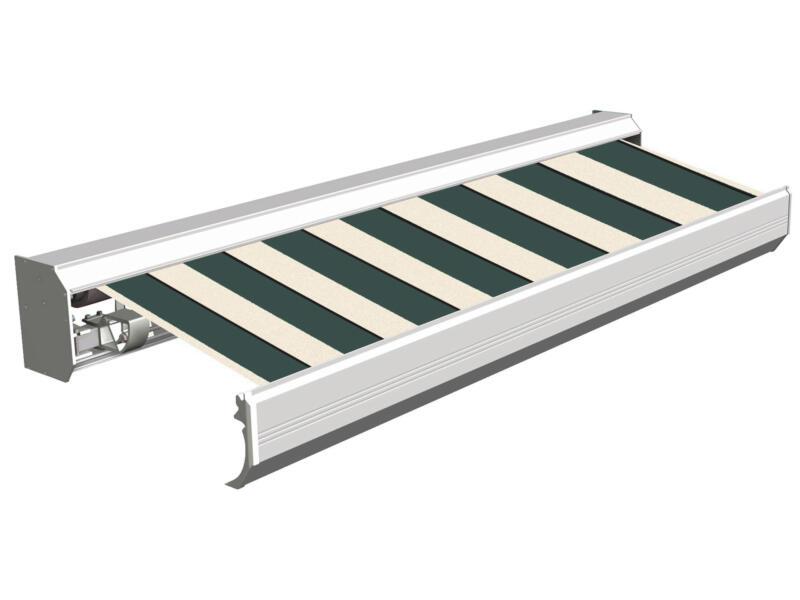 Domasol elektrische zonneluifel F30 550x300 cm groen-wit brede strepen met crèmewit frame