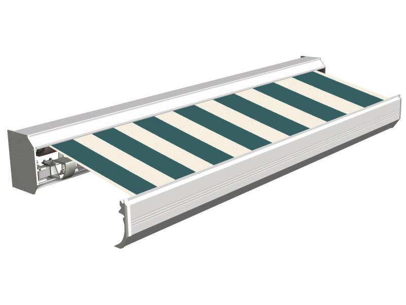 Domasol elektrische zonneluifel F30 600x300 cm + afstandsbediening groen-wit smalle strepen met crèmewit frame