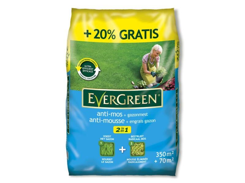 Evergreen engrais gazon & antimousse 350m² + 70m² gratuit